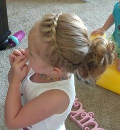 Toddler hairstyle to keep hair out of their face! Super cute, but Id love to see Daisy sit long enough for me to do it!