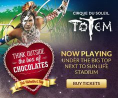 Think outside the box of chocolates this Valentine's Day and give the gift of Totem by Cirque du Soleil, now playing until February 24th at SunLife Stadium. Follow the link and purchase our Valentines special seat upgrade for your special someone!