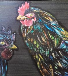 Hens Handpainted on a Wooden Box (Reserved) by PaintWorkStudios on Etsy