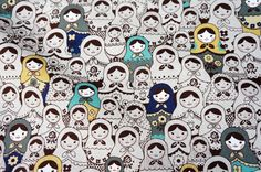 Fabric with russian dolls design    80% cotton 20% linen The