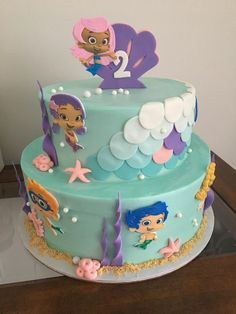 2nd Birthday Party For Boys, Birthday Party Planner, 4th Birthday Cakes, Girl Birthday Themes, Frozen Birthday Party, Birthday Ideas, Bubble Guppies Birthday Cake, Bubble Guppies Party, Novelty Cakes