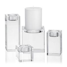 A grouping of these on the marble bar would be beautiful.  Oslo Crystal Candle Holders  | Crate and Barrel