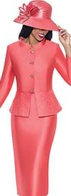 GMI G6232-Coral - First Lady Church Suit For Women With Embellished Peplum Jacket