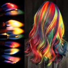 Hair Art by Ursula Goff - Brand Board - Hair Color Vivid Hair Color, Pretty Hair Color, Beautiful Hair Color, Hair Dye Colors, Vidal Sassoon Hair Color, Hair Lights, Xmas Lights, Bright Hair, Rainbow Hair