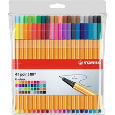 STABILO 88 Fineliner Set of 40 Colouring Pens - Fine Liner Drawing Pen for sale online Bic Kids, School Suplies, Cool Paper Crafts, Fine Pens, Stabilo Boss, Cute School Supplies, School Stationery, I School, School Supplies
