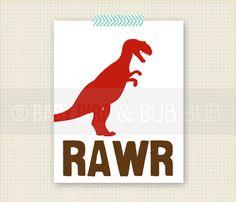 Dinosaur with RAWR or Personalized Name - Kids Room Art - Baby Children Nursery Custom Wall Print Poster. $15.00, via Etsy.