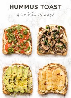 Need a little breakfast inspiration? Try one of these HEALTHY Hummus Toast recipes! With four different flavors, there's something for everyone! Plus these recipes take less than 5 minutes to make, are packed with protein and taste amazing! Healthy Breakfast Recipes, Healthy Snacks, Vegetarian Recipes, Healthy Recipes, Recipes With Hummus, Potato Recipes, Vegetable Recipes, Vegan Vegetarian, Diet Recipes