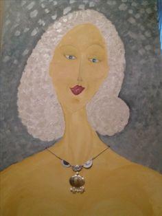 Bianca...olej na dřevě, šperk z recyklovaných zátek od nápojů a perleti