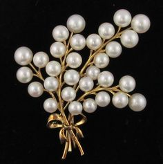 Estate Mikimoto Pearl Pin Brooch 14k