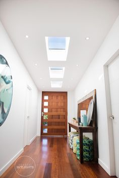 This was truely one welcoming entry way after our touch. Skylights by 📷 by Modern Entrance, Entrance Design, Entrance Hall, Entry Hallway, Foyer, Bathroom Renos, Home Reno, House Goals, Home Decor Inspiration