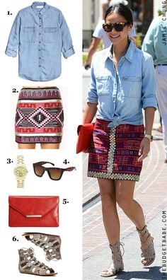 Dress by Number: Jamie Chung's Chambray Shirt and Tribal Skirt