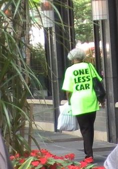 Love the shirt! (And a simple way we can all reduce our carbon footprint: walk more!)