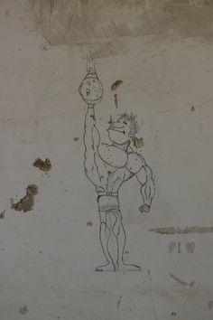 Graffit en ruinas campamento militar. Los Abades, Tenerife. Spain.
