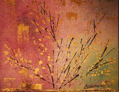 """Abstracto: pintura acrílico y geotextil.Titulo """" Feminidad viva """". 50 x 40 cm"""