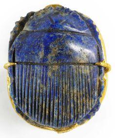 Lapis lazuli scarab . Egypt, circa 500 BCE.