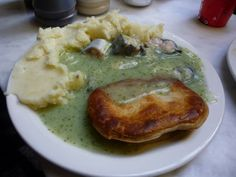 Eel, Pie and Mash.  Traditional London working-class food