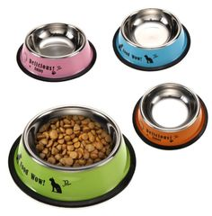 Shop For Cheap Bol Chat 2 Pièces Gamelle Animaux Compagnie Acier Inoxydable Avec Antidérapant Cheap Sales 50% Dishes, Feeders & Fountains