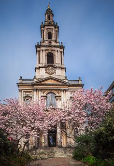 Magnolia trees frame the entrance to the picturesque St Mary Le Strand, London