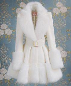 White Coat for Women Faux Fox Fur Coat Wedding Bridal White Coats Girls Fashion Clothes, Winter Fashion Outfits, Look Fashion, Girl Fashion, Fashion Dresses, Fashion Coat, Kawaii Fashion, Lolita Fashion, Mode Outfits