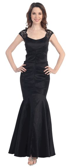 Lace Sleeves Mermaid Style Sexy Evening Gown #black #eveninggown #formaldress