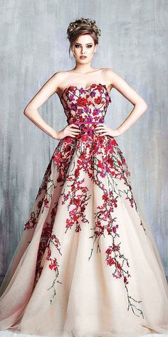 Colourful Wedding Dresses For Non-Traditional Bride ★ colorful wedding dresses a line sweetheart floral blush tony chaaya official wedding dresses blush 24 Amazing Colourful Wedding Dresses For Non-Traditional Bride Colored Wedding Gowns, Evening Dresses, Prom Dresses, Spring Dresses, Couture Mode, Beautiful Gowns, Dream Dress, Pretty Dresses, Wedding Styles