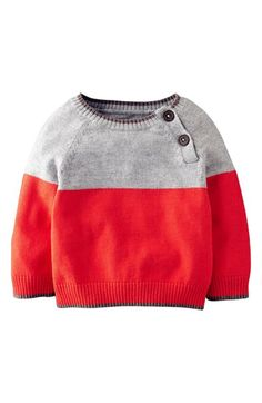 Mini Boden Essential Colorblock Sweater: Available in navy and green or gray and red, Mini Boden's colorblock sweater ($38) has contrast trim and two buttons at the shoulder for easy on and off.