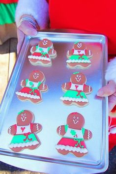 Cute cookies at a Mrs. Claus Cookie Shop Party with REALLY CUTE IDEAS via Kara's Party Ideas   KarasPartyIdeas.com #ChristmasParty #KidsChristmasParty #HolidayParty #CookieExchange #MrsClaus