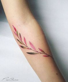 Small branch tattoo on the inner forearm. By Pis Saro done at...