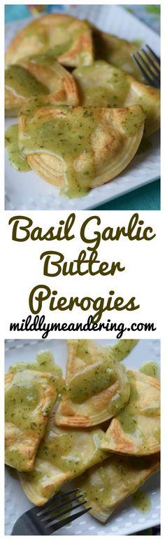 Dorot Basil Garlic Butter Pierogies - Mildly Meandering - http://www.mildlymeandering.com/dorot-basil-garlic-butter-pierogies/