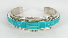 Authentic Native American Sterling Silver Turquoise Inlay Bracelet by Navajo JoAnn Douglas