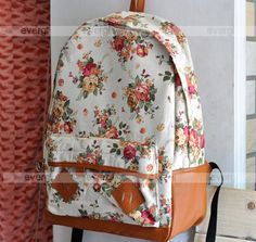Floral backpack I just bought on eBay.. I'm seriously in love with it. I can't wait until it comes in ^.^ It also comes in multiple colors! $12.99 #floral #backpack #womenfashion #white #vintage