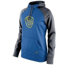 Nike Milwaukee Brewers Women's Royal Blue All Time Performance 1.5 Pullover Hoodie