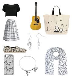 """""""Please don't stop the music"""" by natalie-w1013 ❤ liked on Polyvore featuring BERRICLE, Chicwish, WithChic, TOMS, Music Notes and Karl Lagerfeld"""