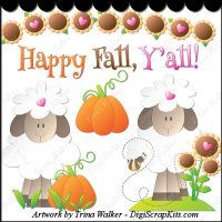 Sweet Fall Sheep 1 Clip Art