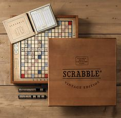 I love playing scrabble. This vintage edition from Restoration hardware is fun & pretty. It looks nice enough to leave on display. I do - and enjoy beating my husband & our guests when we play!