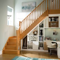 We have a wide range of timber staircase designs available in a wide variety of woods including oak, sapele, maple, beach and walnut. Office Under Stairs, Shelves Under Stairs, Stair Shelves, Staircase Storage, Bad Room Design, Home Room Design, House Design, Timber Staircase, Wooden Stairs