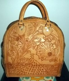 Vintage BOWLING BAG flower peacock bowling ball/pins Tooled LEATHER+ shoes!! #handmade