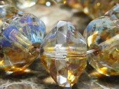IMPERIAL Transparent Czech Glass Saucer Beads 13x09mm by BeadKnead, $3.50