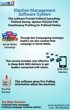 LeadNXT provide powerful and secure online Election Management Software, Campaign Software or polls. We provide Election management system, Election software Solutions, Pre Poll Survey, Jan sewa 24X7 helpline Number.