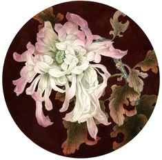 Amazing gongbi painting by a Russian painter Olga Sumarokova. Japanese Flower Tattoo, Japanese Flowers, Oriental Wallpaper, Peony Illustration, Japan Painting, China Painting, Chinese Artwork, Oriental Flowers, Floral Drawing