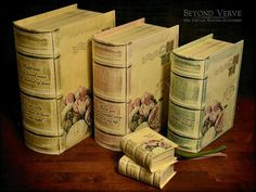 Vintage antique book boxes favor boxes peony - Wedding stationery