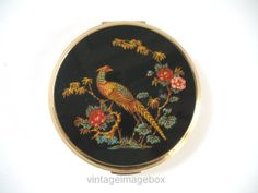 Vintage STRATTON powder compact, goldtone metal, black top with pheasant bird design, by VintageImageBox