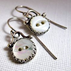 https://flic.kr/p/dykwCn | Vintage MOP Button Earrings | Sterling silver, mother of pearl buttons (Vintage) and silk thread