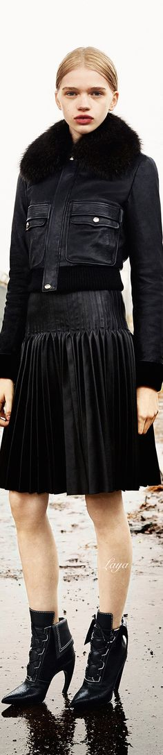 Givenchy pre-Fall 15, all black: leather & fur jacket, pleated skirt, booties. + c