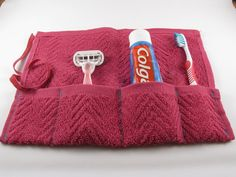 Terrycloth Travel Organizer Pouch for Toothbrush, Toothpaste and more. Such a great idea to keep those items that might still be wet when you have to pack them.  Good way to re-purpose an old towel. Can also purchase for $8.00, via Etsy.
