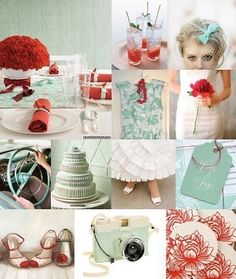 mint and red wedding colors