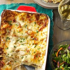 Chicken Alfredo Lasagna Recipe -My family was growing tired of traditional red sauce lasagna, so I created this fun twist using a creamy homemade Alfredo sauce. Store-bought rotisserie chicken keeps prep simple and fast. —Caitlin MacNeilly, Uncasville, Connecticut