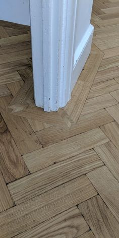 The details are very important to us and can completely change the look of a floor. We always like to mitre the corners of a wooden floor to match the design of the architraves. It makes all the difference and creates a very professional look. Reclaimed Parquet Flooring, Wooden Flooring, Hardwood Floors, Flooring Ideas, Parque Flooring, Stairs Floor Plan, Stairs Cladding, Floor Restoration, Georgian Interiors
