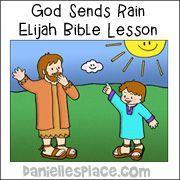 God Sends Rain Elijah Bible Coloring Sheet
