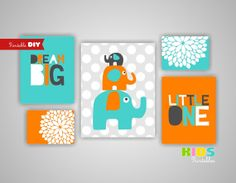 Printable DIY Boy Nursery Art Prints Elephant by KidsPrintablesDIY, $20.00